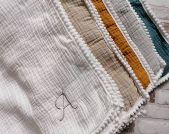 Embroidered personalised muslin cloth, embroidered burp cloth, muslin blanket, pom pom blanket, pom pom blanket