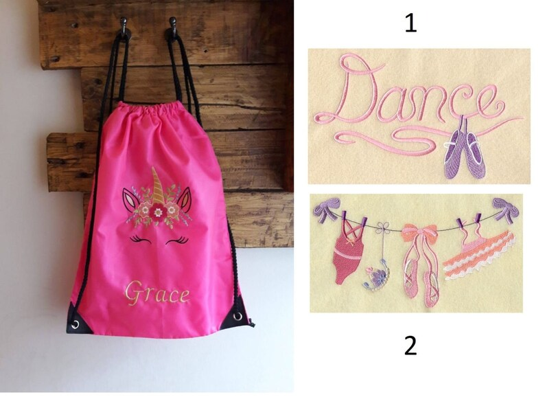 choose your own embroidery Ballet dance bag Personalised pe drawstring school bag
