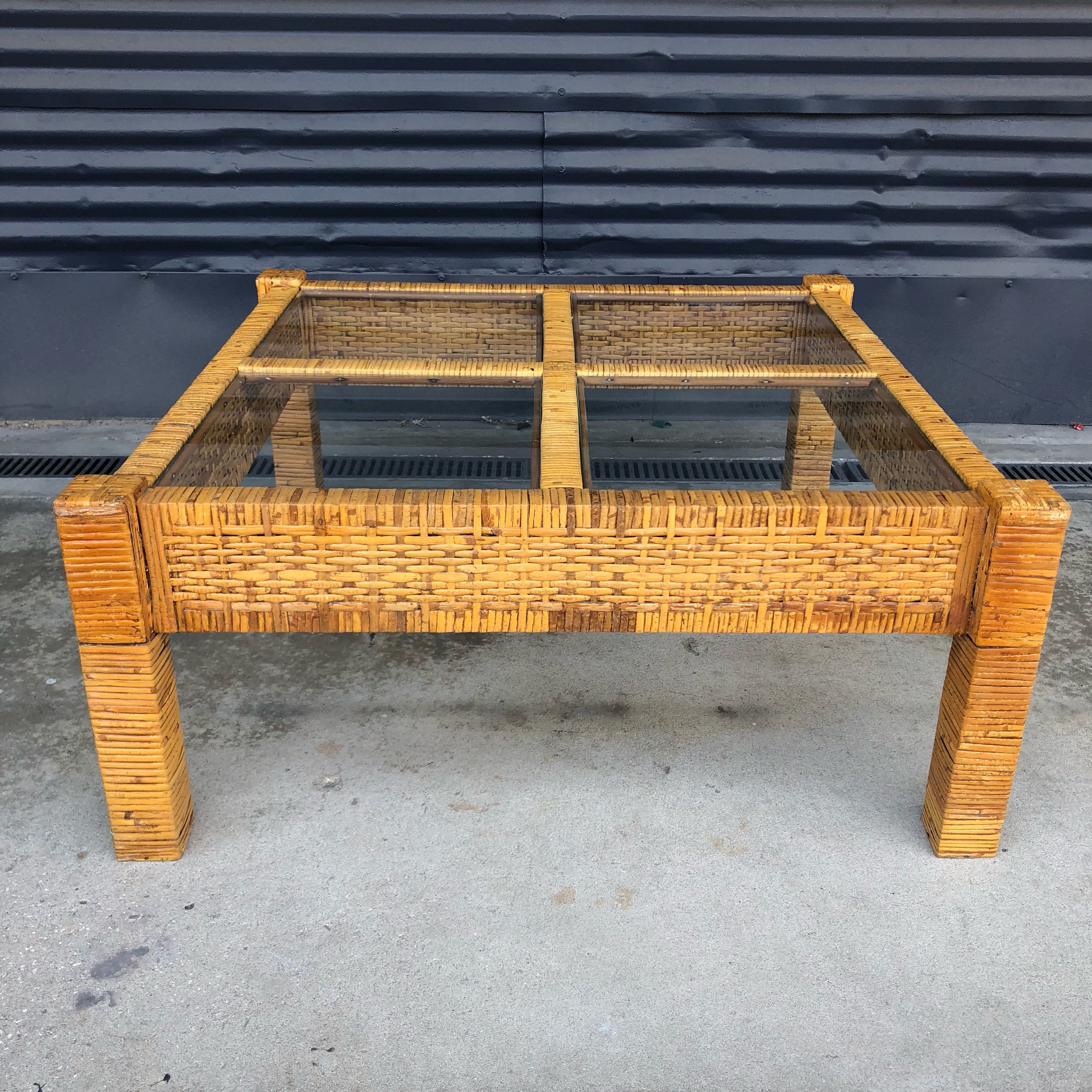 Chic Rattan Coffee Table: Vintage Billy Baldwin Style Wrapped Rattan Square Coffee
