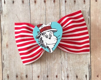 Cat in the hat dr suess hair bow baby headband glitter hand painted pink birthday