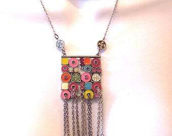 1 x Neon Bright Colour Wise Owl Charm Pendant Metal Enamel Necklace Making