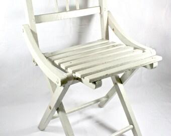 Niños madera blanco sillón plegable muebles de la década de 1930 niños Vintage habitación decoración, interiorismo