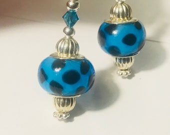 Blue with black spotted lamp work Cabolt earrings FREE SHIPPING