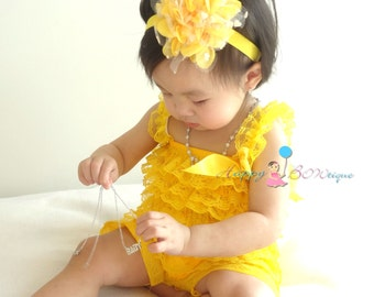 Coming Home Outfit Baby Girls/' Yellow Bubble Romper