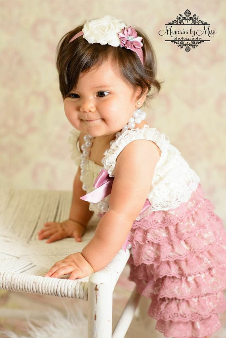 2cefab8daea9 Ivory Rose Satin headbandMTM Baby Ivory Rose lace Romperbaby