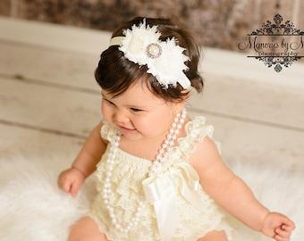 Baby Girl Ivory Lace Romper Set, wedding flower girl, lace romper, Flower Girl, Ivory Romper,1st  birthday, baby girl baptism,Christening