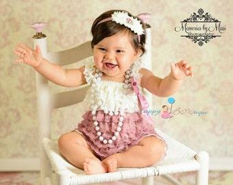 Girl's Dusty Ivory Rose headband,newborn headband, MTM Baby Dusty Rose Romper- Headband ONLY,Birthday headband,Dusty Rose headband