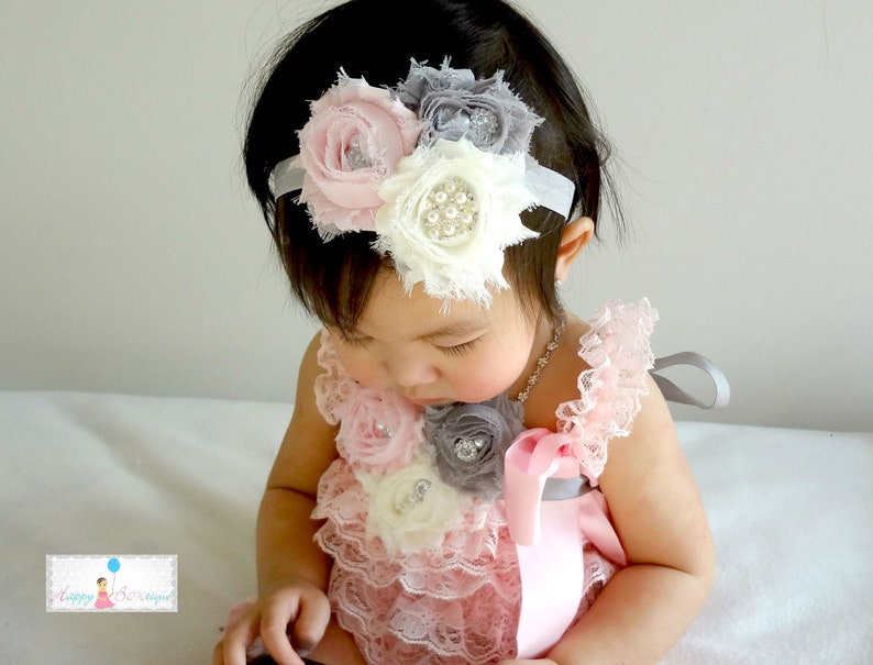 Birthday outfit wedding flower girl Romper Vintage Ivory Cream Lace Petti Romper baptism 3pcs Romper set baby gift baby girls romper
