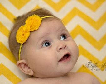baby headband, Petite Yellow Shabby Bow Baby Girls Headband, newborn girls shabby bow headband,  infant headbands / Baby Photo props