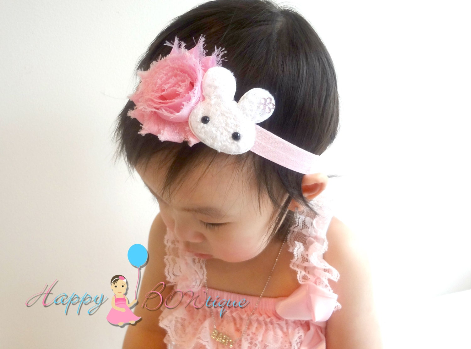 Easter Baby Headband   Easter Bunny headband   Pink and White  8c314e686a9