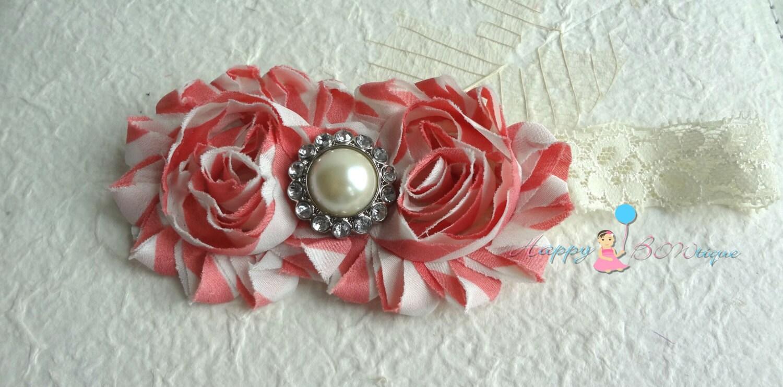 00ac2e403cb0 Duo shabby Ivory Rose headband baby headbandBaby girl