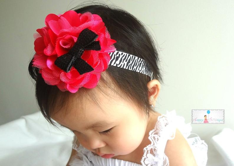 Large Hot PInk and Zebra Tutus Puff Headband  Baby Headbands  Girls headbands  Baby Photo Props newborn headband