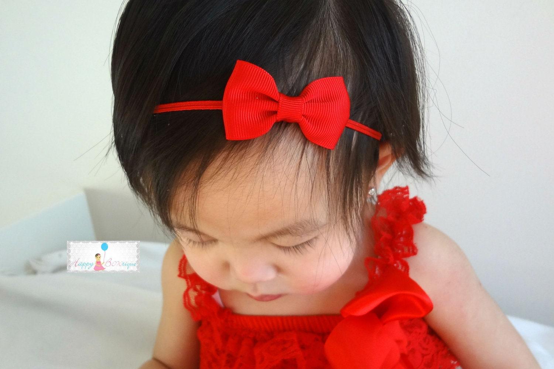 Valentine Red Bow Headband Petite Red Bow Headband Baby red  c5e80678034