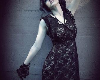"Black handmade Lace- Dress ""Alma"", ROHMY Gold Label /// Weddingdress /// Sirens Collection"