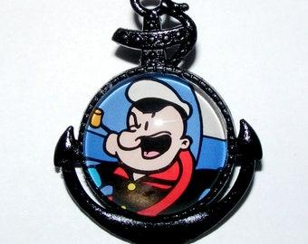 Popeye The Sailorman, Nautical Style Brooch, Pin, Jewelry, Pix of Popeye, Handmade