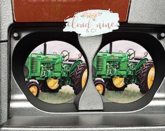 Green Tractor Car Coasters, Farm Car Coasters, Country Car Coasters, Tractor Coasters, Farm Decor, Car decor, Car accessories