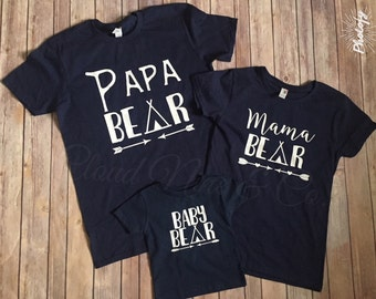 dbe6b8fa9 Mama Bear, Papa Bear, Baby Bear, Brother, Sister, Man Cub, Bear Cub T-Shirt  Set, in Navy