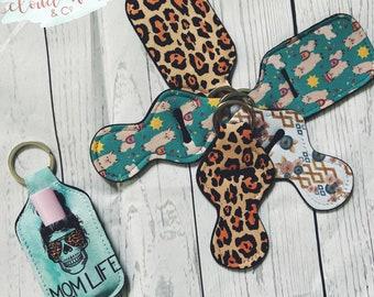 Chapstick holder keychain, jar shape or mermaid shape, chap lip holder, neoprene rubber keychain, momlife keychain, leopard print, llama