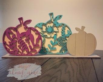 Floral Pumpkin Trio Decoration, 3D wood pumpkin decor, standing pumpkins, autumn decor, fall home pumpkin sign decor