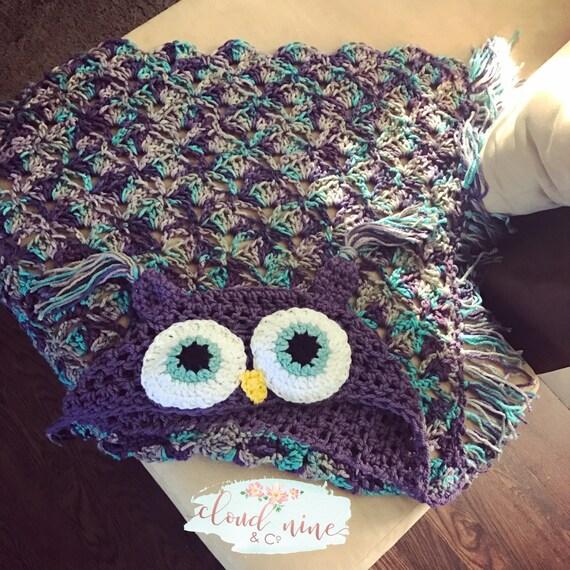 Eule-Decke Kapuzen Eule Decke gehäkelte Eule Decke häkeln | Etsy