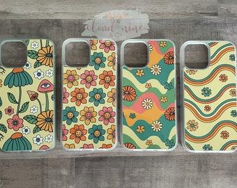 Retro iPhone cases, groovy phone case, retro print phone case, smiling flowers, mushroom and flowers phone case, 70s phone case, iPhone case