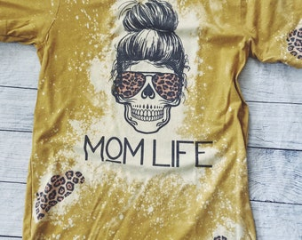 Mom Skull with Hair Bun Shirt, Mom Shirt, Shirt for Mother's Day, Mother's Day Gift, Skull with bun and glasses, Leopard Print, Mom Skull