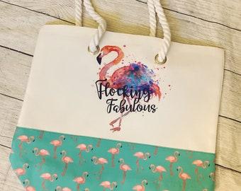 Flocking fabulous flamingo summer tote bag, flamingo bag, cute summer tote, large summer tote
