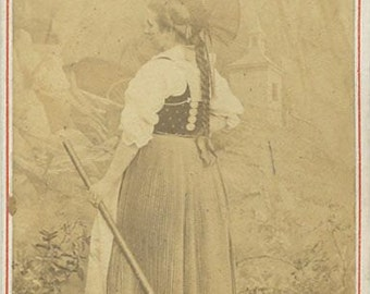 Switzerland woman with stick antique ethnic type CDV photo