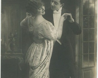 Dancing couple tango dancers antique photo pc