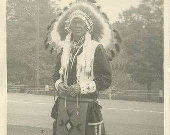 Indian Native American chief in headdress antique photo