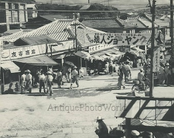 Asia market street view vintage photo