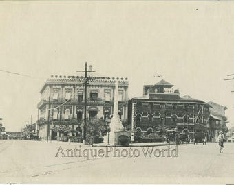 Plaza de Lesseps Panama City street view bicycle rider antique photo