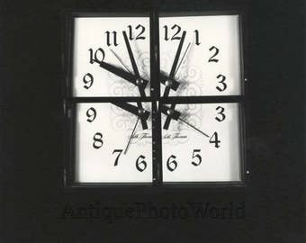 Surreal wall clock vintage art photo
