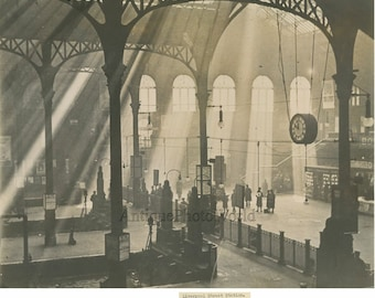 Liverpool UK train station interior antique art photo