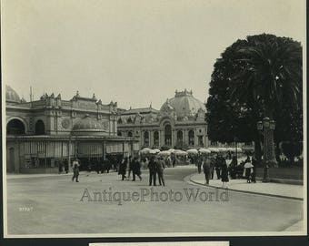 Monte Carlo square street view people antique photo