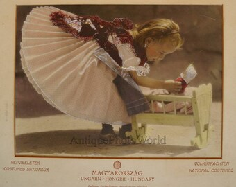 Hungary+girl+in+ethnic+folk+dress+with+toy+crib+and+doll+large+antique+art+photo