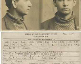 William Saar embezzlement crime antique police mug shot photo