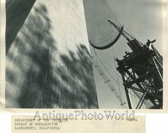 Shasta dam construction artistic antique photo CA