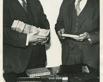 NY police with forged cash money bills antique photo