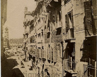 Verona street view antique photo Italy