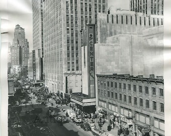 New York City Rockefeller Center street view antique photo