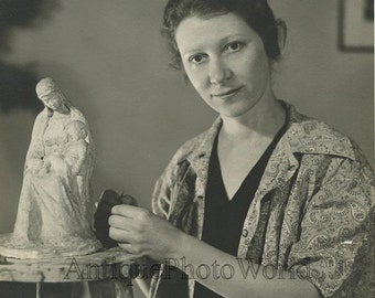 Woman sculptor artist in studio sculpture antique photo