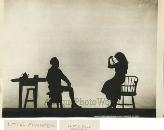 Little Minister shadow silhouette theater play antique photo by W. C. Ward