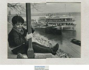 Happy boy by river vintage art photo by Emilie Benickova Czech Republic
