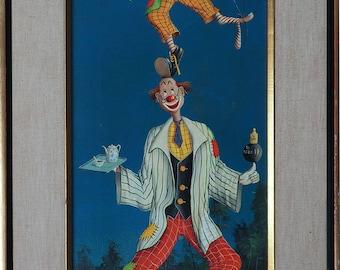 Balancing clowns surreal vintage original oil painting by Alfano Dardari Italy