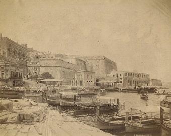 Marsamuscetto Harbour Malta boats antique albumen art photo
