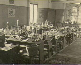 Chemsitry class lab flasks equipment 1910s photo