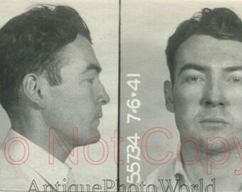 Handsome man criminal antique police mug shot photo