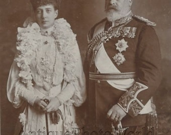 Edward and Alexandra UK royal couple antique photo