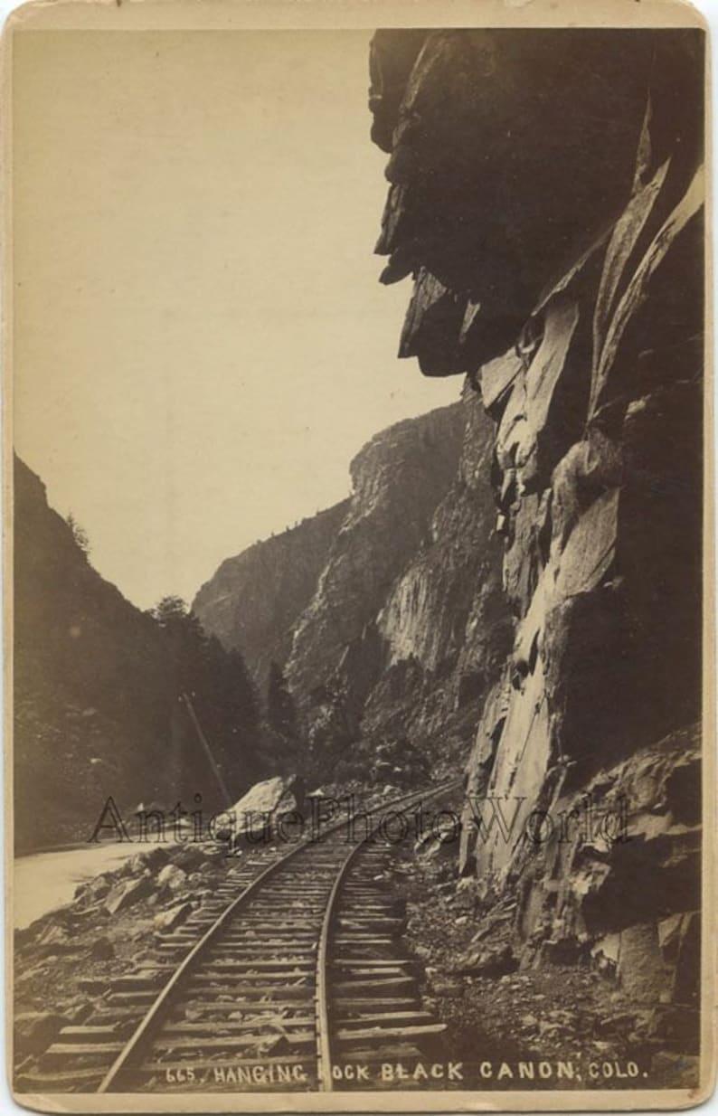 Black Canyon Hanging Rock railroad tracks antique photo Colorado